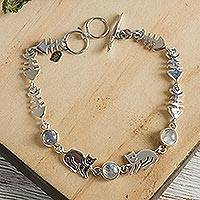 Moonstone link bracelet, 'Cool Kitty Cat' - Handcrafted Silver And Moonstone Designer Bracelet