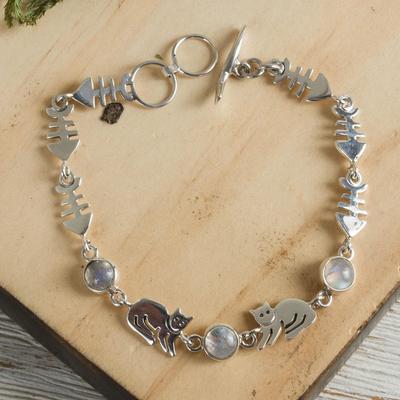 Moonstone link bracelet, 'Cool Kitty Cat' - Unique Sterling Silver Moonstone Bracelet