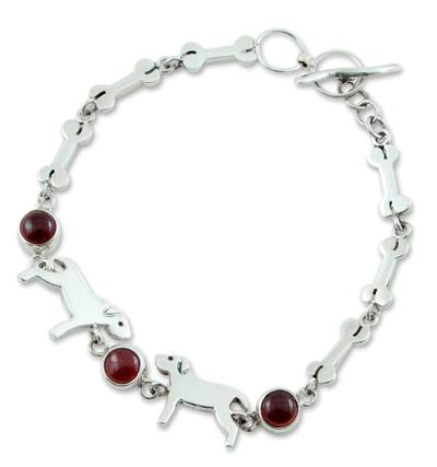 Handcrafted Sterling Silver and Garnet Doggie Bracelet