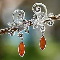 Carnelian earrings, 'Skybird' - Carnelian earrings