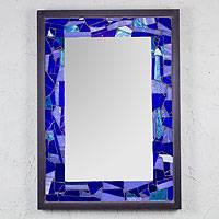 Stained glass mirror, 'Mexican Ocean' - Mexican Fair Trade Stained Glass Mirror