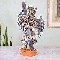Ceramic sculpture, 'Jaguar Warrior' (large) - Collectible Aztec Multicolor Ceramic Wild Cat Sculpture