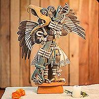 Ceramic sculpture, 'Eagle Warrior' (large) - Handcrafted Aztec Ceramic Sculpture