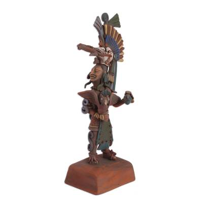 Ceramic sculpture, 'Aztlan Warrior' - Handmade Mexican Aztec Ceramic Sculpture