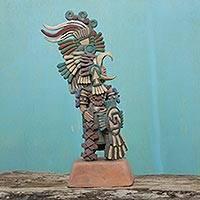 Ceramic sculpture, 'Eagle Warrior' (medium) - Handcrafted Archaeological Ceramic Sculpture from Mexico