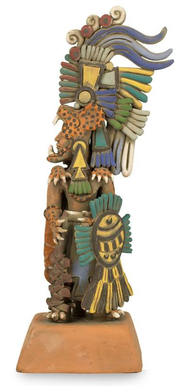 Ceramic sculpture, 'Jaguar Warrior' (medium) - Aztec Museum Replica Ceramic Sculpture (Medium)
