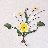 Iron wall sculpture, 'Lovely Lily' - Handcrafted and Painted Yellow Flower Iron Wall Sculpture