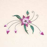 Iron candleholder, 'Precious Violets' - Collectible Floral Steel Candleholder for the Wall