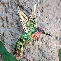 Iron wall sculpture, 'Little Emerald Hummingbird' - Bird Artisan Handcrafted Iron Wall Sculpture Mexico