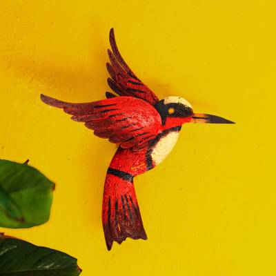 Iron wall sculpture, 'Little Ruby Hummingbird' - Unique Red Bird Wall Art Steel Sculpture from Mexico