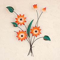 Iron candleholder, 'Amaryllis Bouquet' - Iron candleholder