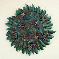 Iron wall sculpture, 'Monarch Butterfly Tree' - Iron wall sculpture