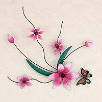 Iron wall sculpture, 'Butterfly Bouquet' - Pink Flowers Handmade Painted Iron Wall Sculpture Mexico