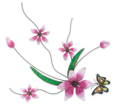 Iron wall sculpture, 'Butterfly Bouquet' - Pink Flowers Handmade Painted Iron Wall Sculpture Mexico