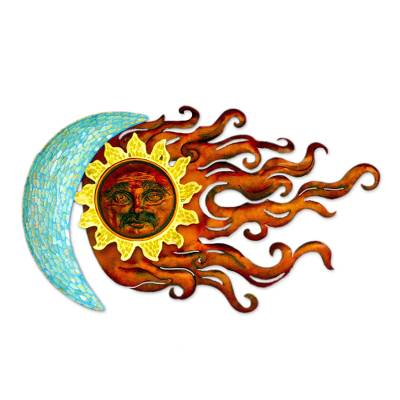 Iron wall sculpture, 'Lover's Eclipse' - Sun and Moon Glass Mosaic Hand Made Iron Wall Sculpture