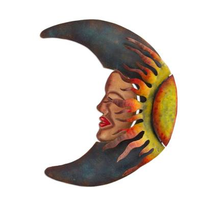Iron wall sculpture, 'Sensorial Eclipse' - Handcrafted Mexican Sun and Moon Steel Wall Art Sculpture