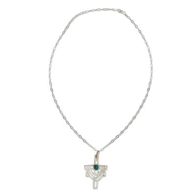 Turquoise cross necklace, 'Resurrection' - Hand Crafted Mexican Silver and Cross Religious Necklace