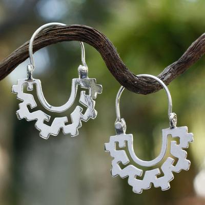 Sterling silver hoop earrings, 'Magical Mitla' - Collectible Sterling Silver Hoop Earrings