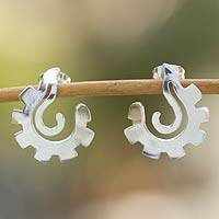 Sterling silver button earrings, 'Aztec Seashell' - Artisan Crafted Sterling Silver Button Earrings
