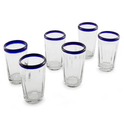 Tumblers, 'Cobalt Groove' (set of 6) - Handmade Glass Recycled Juice Drinkware (Set of 6)