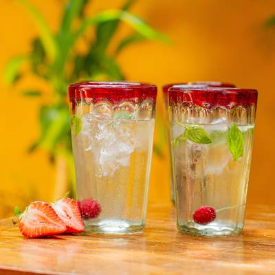 Tumblers, 'Ruby Groove' (set of 6) - 6 Collectible Mexican Recycled Red and Clear Glasses