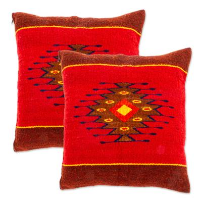 Wool cushion covers, 'Fire in the Sky' (pair) - Wool cushion covers (Pair)