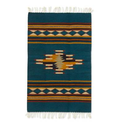 Zapotec wool rug, 'Blue Diamond Design' (2x3.5) - Zapotec Wool Rug 2 X 3.5 Ft Handmade in Mexico