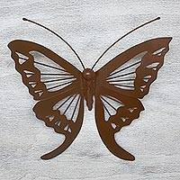 Iron wall sculpture, 'Mexican Butterfly' - Fair Trade Monarch Silhouette Iron Wall Sculpture Mexico
