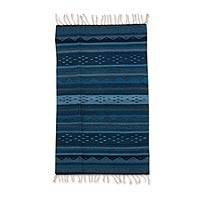 Zapotec wool rug, 'Huatulco Waves' (2x3) - Fair Trade Blue Wool Zapotec Area Rug (2x3)