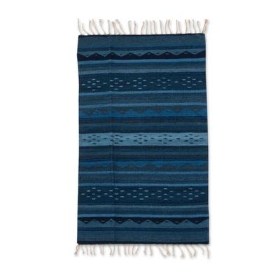 Zapotec wool rug, 'Huatulco Waves' (2x3) - Fair Trade Blue Zapotec Area Rug (2x3)