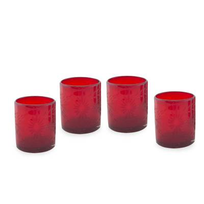 Tumblers, 'Ruby Garden' (set of 4) - Hand Blown Glass Juice Tumblers Set 4 Etched Red Mexico