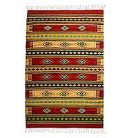 Zapotec wool rug, 'Sunshine Constellation' (6.5x10) - Zapotec Wool Striped Area Rug (6.5x10)