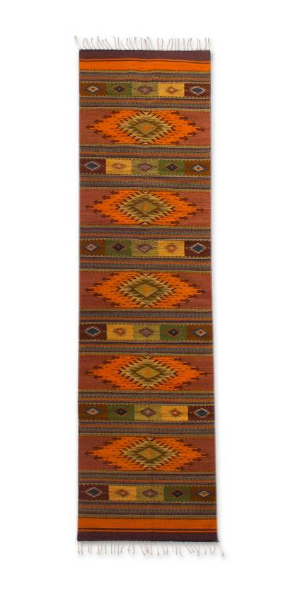 Zapotec wool runner, 'Autumn Sun' (2.5x10) - Zapotec wool runner (2.5x10)