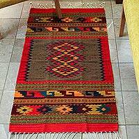 Zapotec wool rug, 'Diamond Trio' (2.5x5) - Unqiue Handcrafted Wool Rug from Mexico