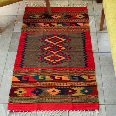 Zapotec wool rug (2.5x5) - Diamond Trio  bac88e411b9