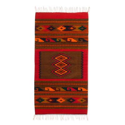 Zapotec wool rug, 'Diamond Trio' (2.5x5) - Zapotec wool rug (2.5x5)