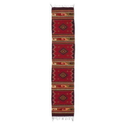 Zapotec wool rug, 'Teotitlan Sunset' (1.5x6.5) - Handcrafted Geometric Wool Striped Area Rug (1.5x6.5)