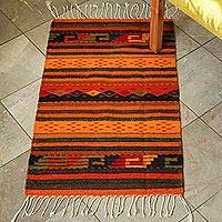 Zapotec wool rug, 'Stairway to the Sky' (2x3.5) - Zapotec Wool Accent Rug