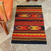 Zapotec wool rug, 'Sierra Meadows' (2x3.5) - Zapotec wool rug (2x3.5)