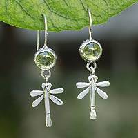 Peridot dangle earrings, 'Mexican Dragonfly' - Peridot Handmade Sterling Silver Dangle Earrings