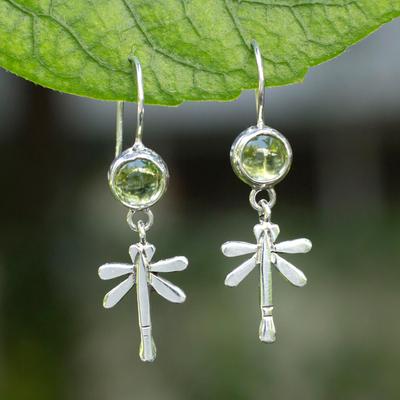 Peridot dangle earrings, 'Mexican Dragonfly' - Peridot Handmade Sterling Silver Dangle Earrings