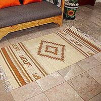 Zapotec wool rug, 'Beige Star' (2.5x5) - Zapotec wool rug (2.5x5)