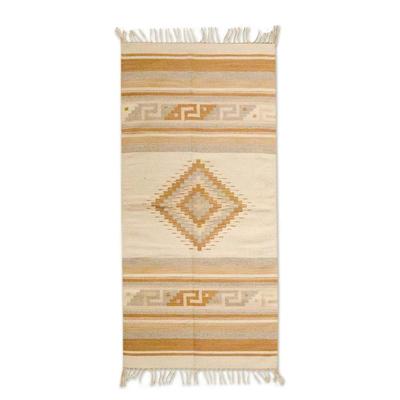 Zapotec wool rug, 'Beige Star' (2.5x5) - Zapotec wool rug (2.5x5)