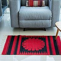 Zapotec wool rug, 'Oaxaca Flower' (2x3)