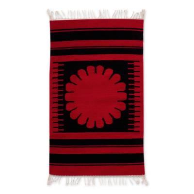 Zapotec wool rug, 'Oaxaca Flower' (2x3) - Zapotec wool rug (2x3)