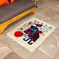 Wool rug, 'Tribute to Joan Miro' (2x3)