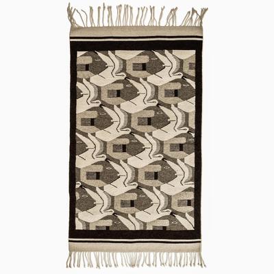 Wool rug, 'Fish and Flight' (3x5) - Wool Bird Area Rug (3x5)