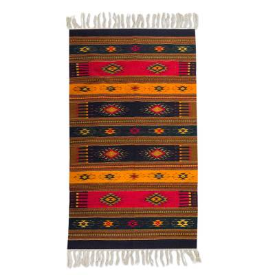 Zapotec wool rug, 'Color of Life' (5x8) - Zapotec wool rug (5x8)