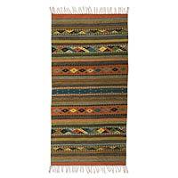 Zapotec wool rug, 'Harmony' (2x5) - Handwoven Mexican Zapotec Area Rug (2x5)