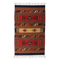 Zapotec wool rug, 'Dawn Stars' (4x6) - Zapotec wool rug (4x6)